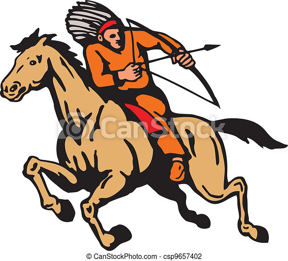 American Indian Riding Horse Bow And Arrow - csp9657402