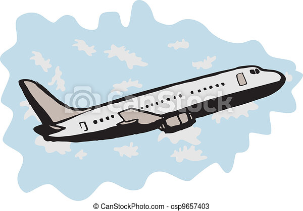 Vectors of jumbo jet airplane taking off - illustration of a ...
