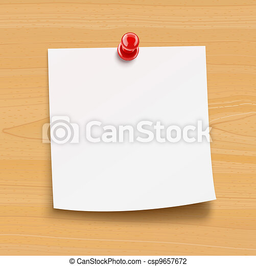 paper notice with pin on wooden plate - csp9657672