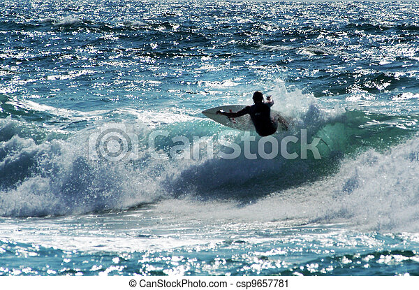Wave surfer surfing wave at sea.
