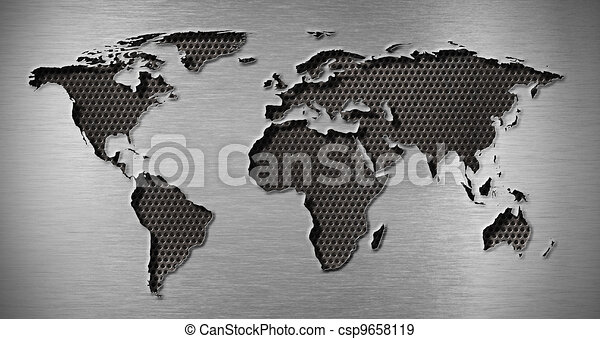 metal hole in world map shape - csp9658119