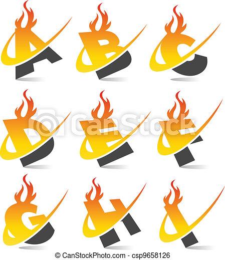 Swoosh Flame Alphabet Set 1 - csp9658126