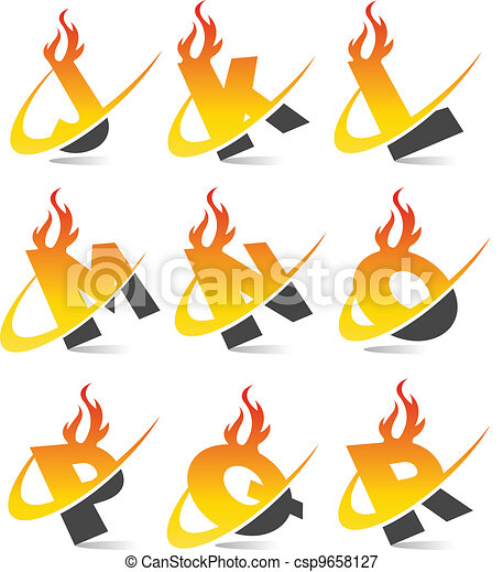 Swoosh Flame Alphabet Set 2 - csp9658127