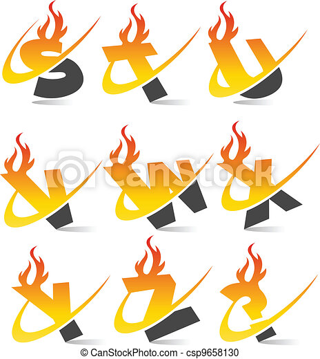 Swoosh Flame Alphabet Set 3 - csp9658130