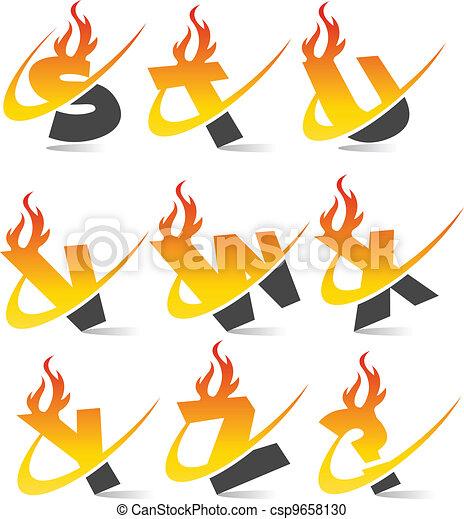 Swoosh Flame Alphabet Set 3 - csp9658130