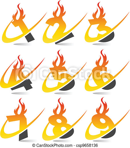 Swoosh Flame Numbers Set 4 - csp9658136