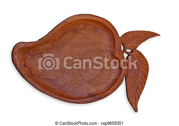 The Carving wooden tray of mango isolated on white background - csp9659351