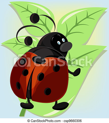 Ridiculous ladybug on a leaflet - csp9660306