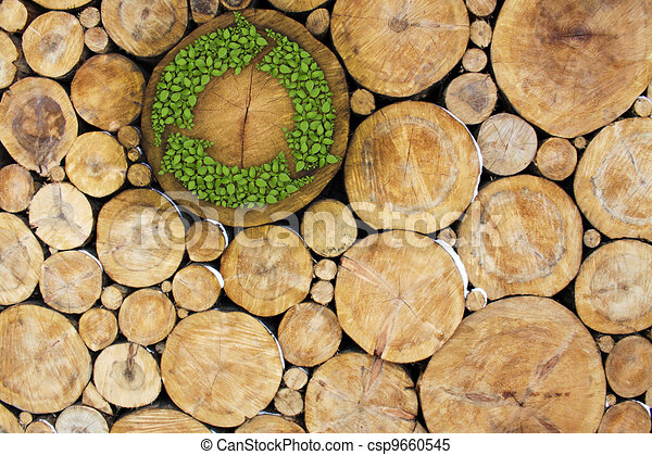 Stacked Logs with recycle symbol - csp9660545