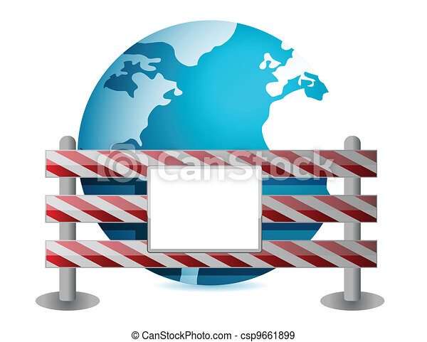 Globe behind a road barrier - csp9661899