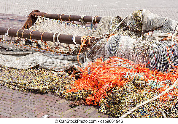 Beam trawl and nets of a fishing cutter - csp9661946