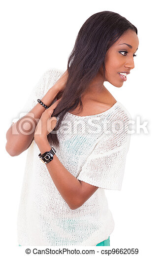 Beautiful young black woman  - csp9662059