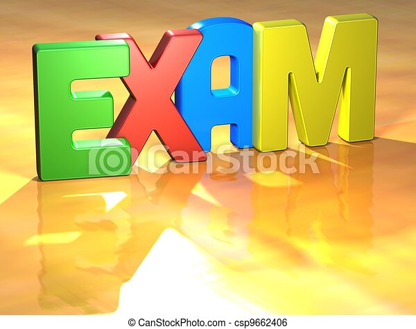 Word Exam on yellow background - csp9662406