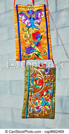 Chinese Colorful Souvenir Silk Pockets Beijing, China  - csp9662469