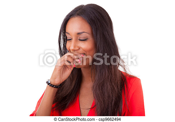 Beautiful young black woman laughing - csp9662494