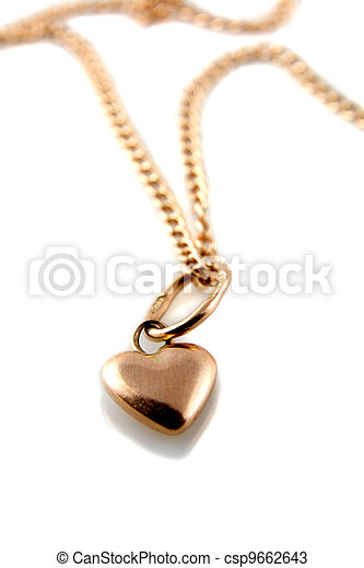 Gold heart pendant with chain - csp9662643