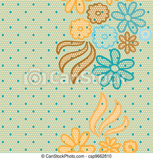 Gentle lace vector fabric seamless pattern - csp9662810
