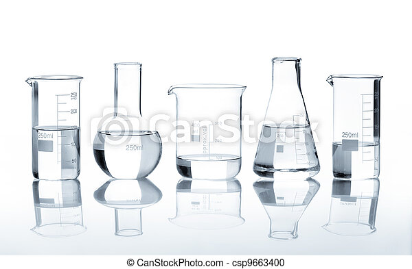 Group of flasks containing clear liquid - csp9663400