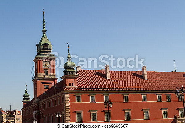 Warsaw, Poland. Old Town - famous Royal Castle. UNESCO World Heritage Site. - csp9663667