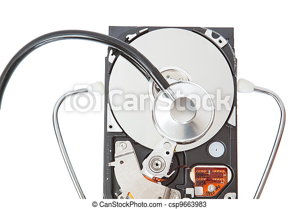 Stethoscope analyzes the hard disk. - csp9663983