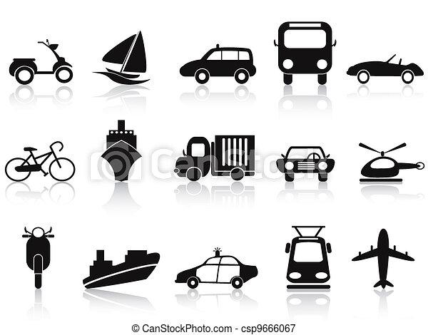 black transportation icons set - csp9666067