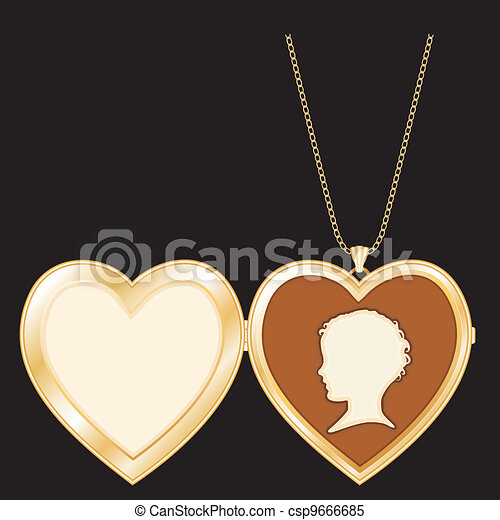 Vintage Cameo, Gold Heart Locket - csp9666685