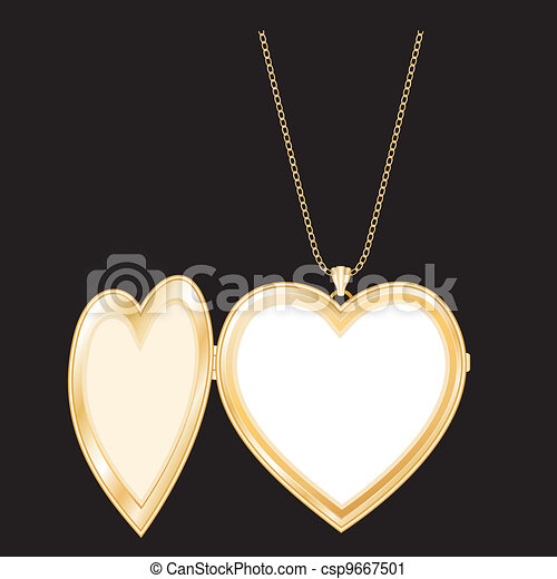 Gold Heart Locket, Chain Necklace - csp9667501