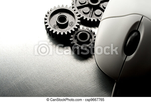 Mechanical ratchets and mouse in grey - csp9667765