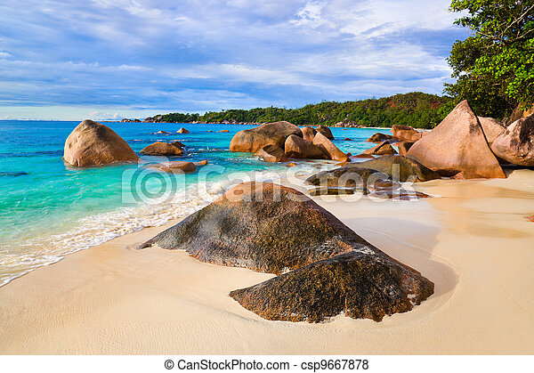 Beach Anse Lazio at Seychelles - csp9667878