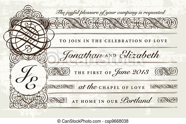 Vector Distressed Victorian Wedding Invitation - csp9668038