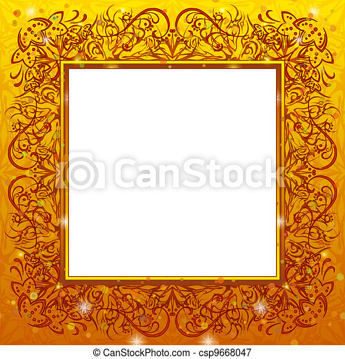 Golden holiday frame - csp9668047