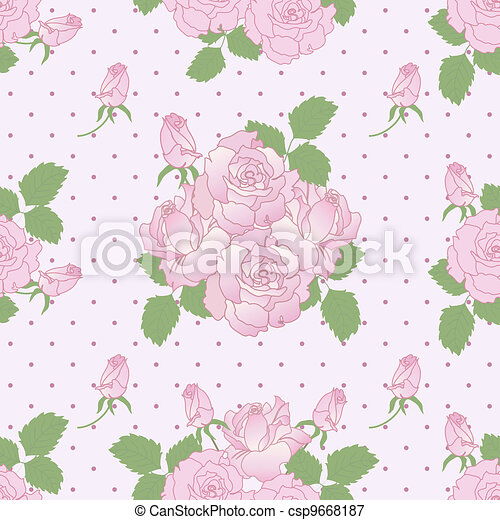 Seamless romantic pattern with roses - csp9668187