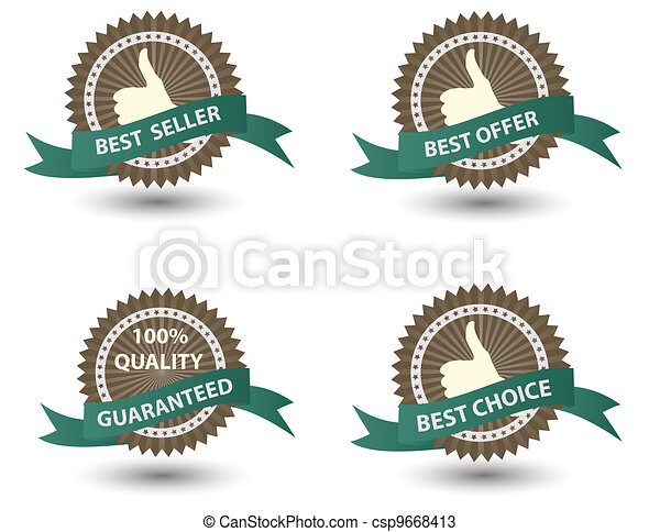 Vector Best Seller label with red ribbon. - csp9668413