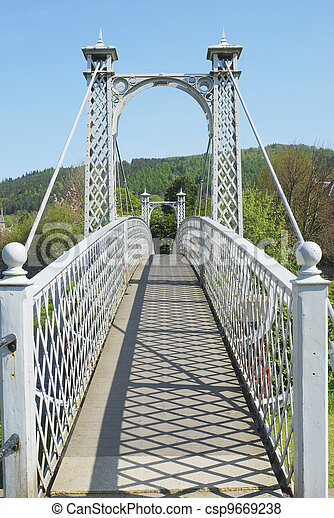 summer shadows on pedestrian bridge at Peebles - csp9669238