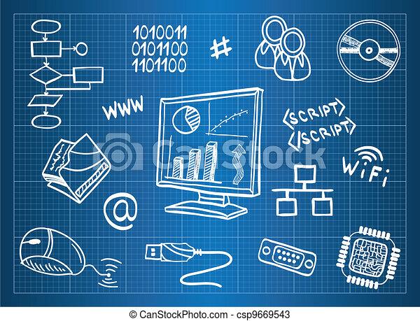 Blueprint of computer hardware and information technology symbols - csp9669543