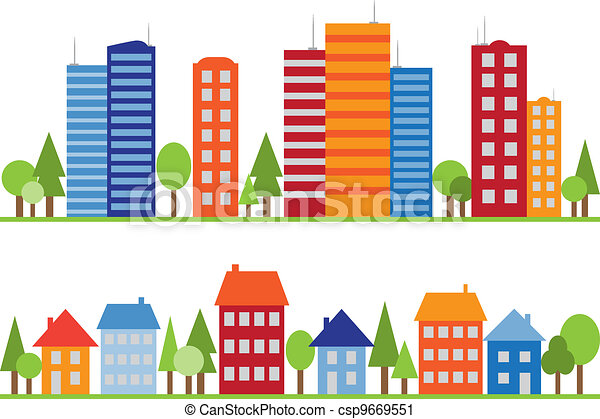 Seamless pattern of city, town or village - csp9669551