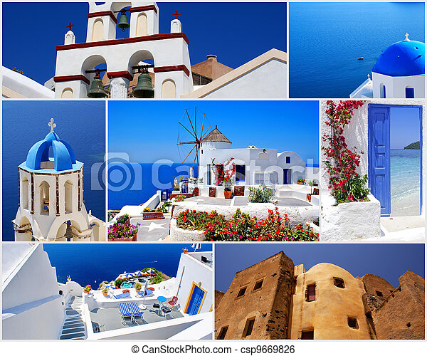 Collage of Santorini island, Greece travel images - csp9669826