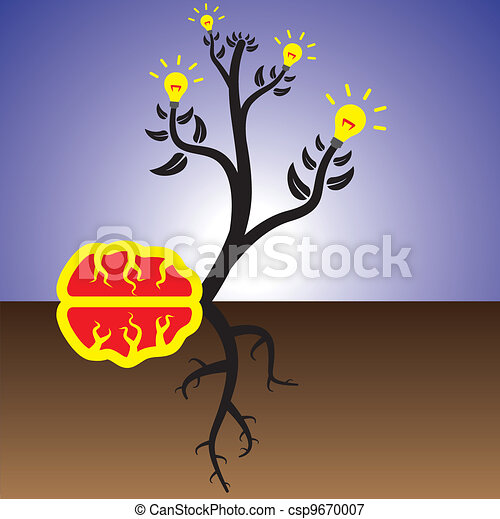 Concept of brain plant creating ideas & solutions - csp9670007