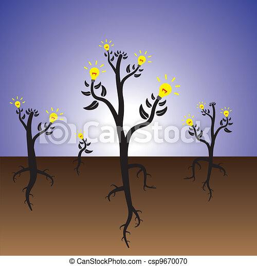 Concept of idea plants growing in fertile mind - csp9670070