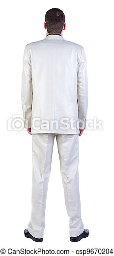 back view of Business man  looks ahead. Young guy in white suit watching.   Rear view people collection.  backside view of person.  Isolated over white background. - csp9670204