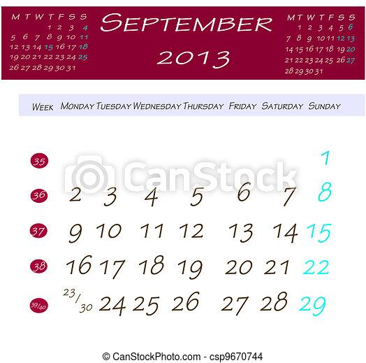 Banco de imagem - Calend  225 rio  setembro  2013 - banco de imagens    Calendario Septiembre 2013