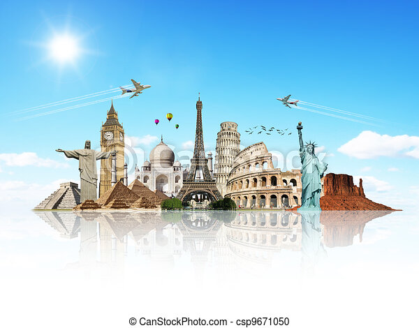 Travel the world monuments concept - csp9671050