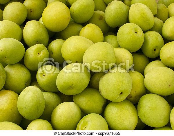 Heap group of fresh green plum - csp9671655