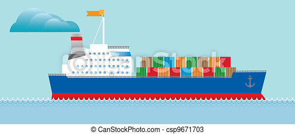 Tanker cargo ship with containers - csp9671703
