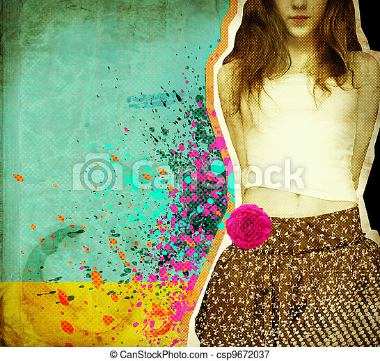 Beautiful girl .Grunge background on old paper for text - csp9672037