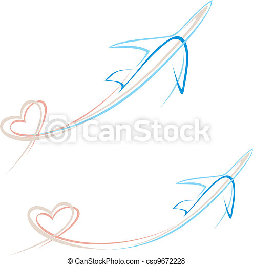 Plane with heart shape trace - csp9672228