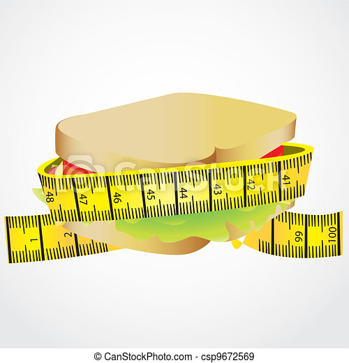 measuring tape around  Sandwich - csp9672569
