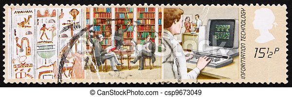 Postage stamp GB 1982 Hieroglyphics, Library and Word Processor - csp9673049