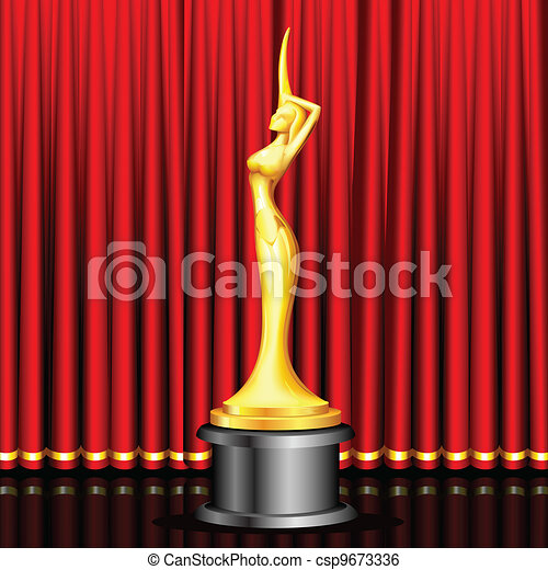 School Award Ceremony Clipart Golden award on stage clip art