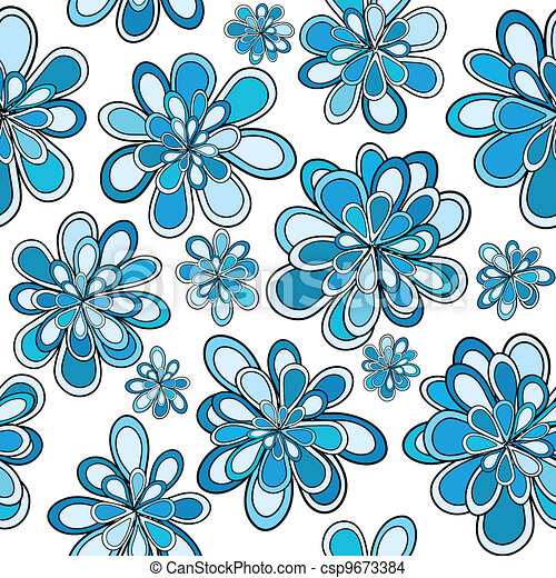 Seamless pattern with blue abstract flowers - csp9673384
